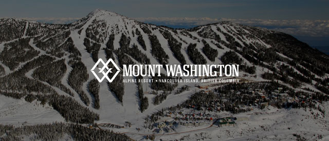 Mount Washington Resort logo over the Mountain's ski runs in winter faded out.