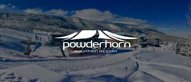Powderhorn Resort logo over an image of the ski lifts and base camp in winter.