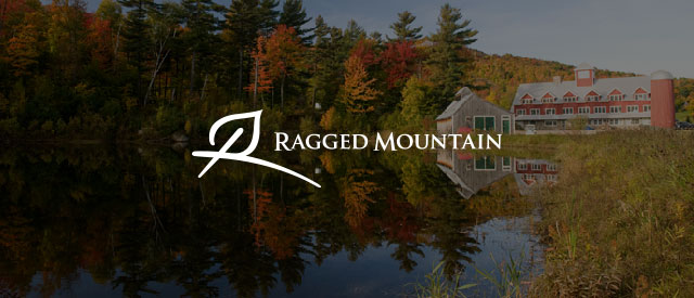 Ragged Mountain Resort logo over a view of teh barn from across a pond in autumn faded out.
